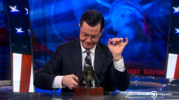 Stephen Colbert rings the Liberty Bell