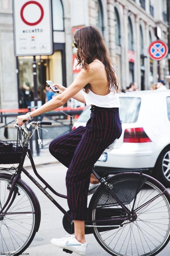 Milan_Fashion_Week_Spring_Summer_15-MFW-Street_Style-Striped_Trousers-Nike_Sneakers-Bike-