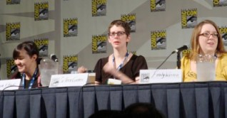 On the Women Of Marvel panel in 2008. Sonia Obeck, me, and Emily Warren