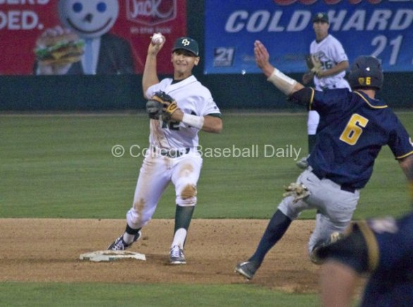 Mark Mathias turns the double play.