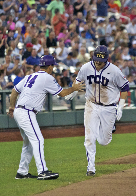 Kevin Cron is congratulated on his homer. (Photo: Shotgun Spratling)