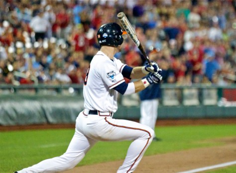 Mike Papi watches his two-run double off the bat. (Photo: Shotgun Spratling)