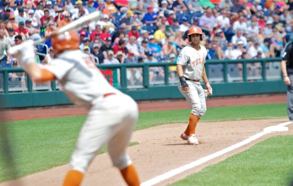 C.J. Hinojosa leads off third base. (Photo: Shotgun Spratling)