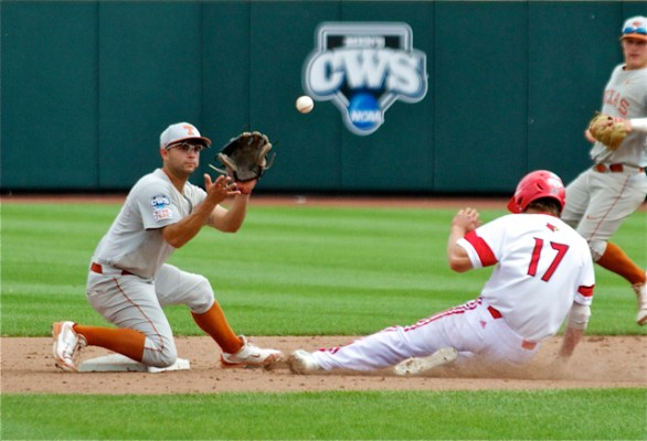 C.J. Hinojosa awaits the ball as Nick Solak swipes second base. (Photo: Shotgun Spratling)
