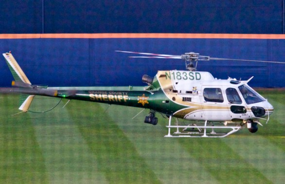 The Orange County Sheriff helicopter drops off Vietnam veteran Malcolm Campbell to throw out the first pitch. (Photo: Shotgun Spratling)