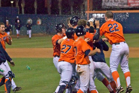Fullerton celebrates amongst a spray of water. (Photo: Shotgun Spratling)