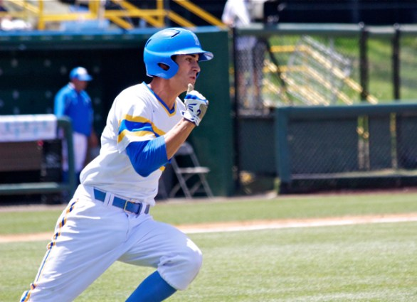 Luke Persico rounds first after one of his two hits. (Photo: Shotgun Spratling)