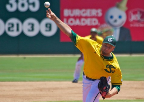 Justin Dillon allowed 5 ER in 4 IP. (Photo: Shotgun Spratling)