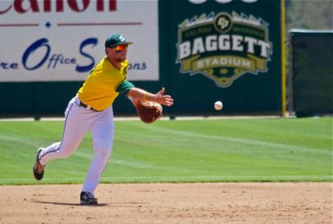 Rhys Hoskins flips to the pitcher covering. (Photo: Shotgun Spratling)