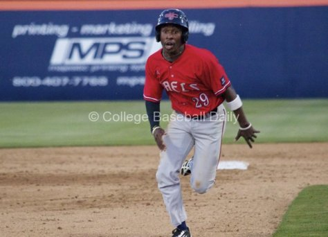 DonAndre Clark tries to steal third.