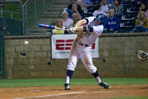 Connor Spencer delivers a two-run triple. (Photo: Shotgun Spratling)