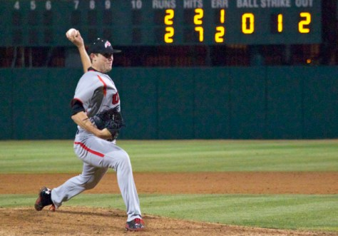Nick Green picked up the win with 5 IP of relief. (Photo: Shotgun Spratling)