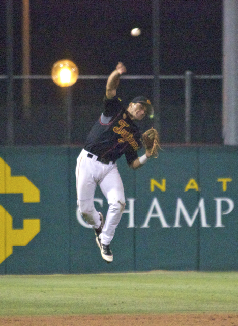 Frankie Rios' jump throw wasn't enough. (Photo: Shotgun Spratling)