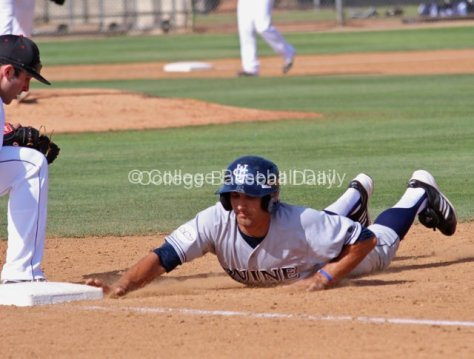 DJ Crumlich dives back into first.