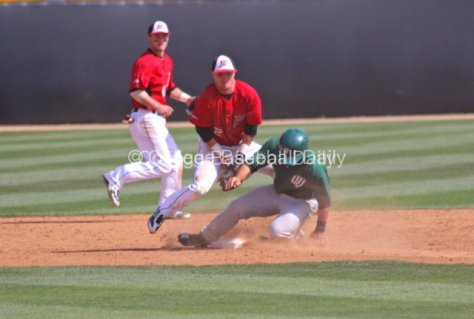 Ryan Raslowsky tries to corral the ball as Jordy Hart steals.