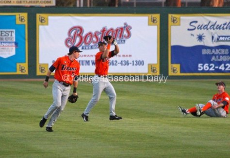 Everyone clears as Michael Lorenzen catches a fly.