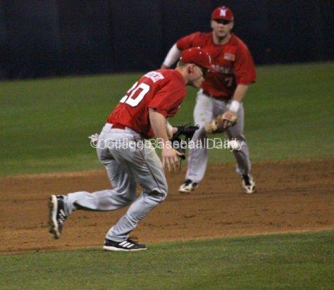 Josh Scheffert tries to cut off a ball.