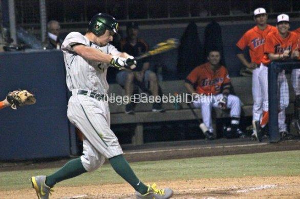 Ryan Hambright lines a base hit.