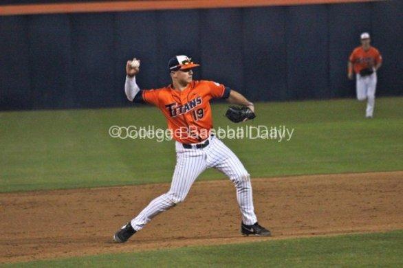 Matt Chapman makes a play at third base.