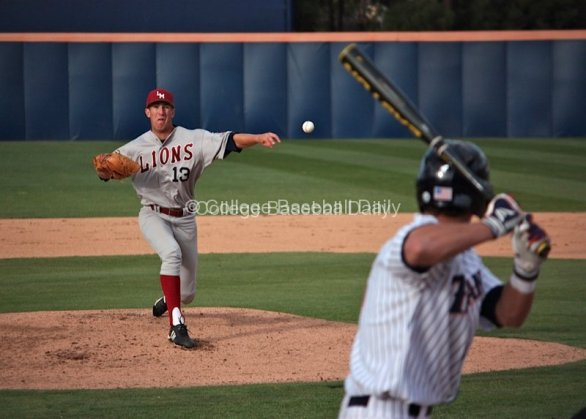Matt Florer pitches to a Fullerton batter