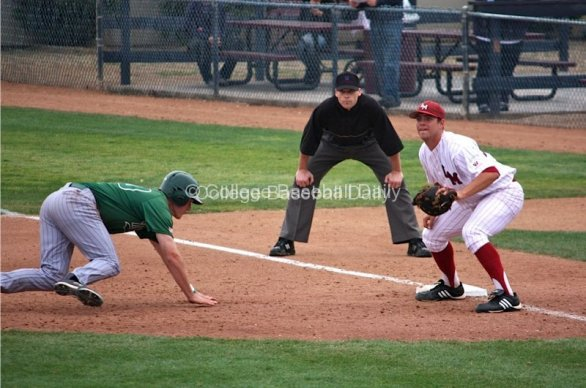 Kyle Raubinger awaits a throw at first base