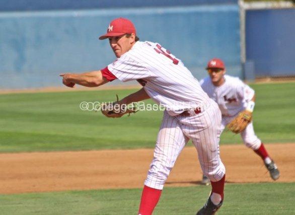 Matt Florer throws a sidearm pitch.
