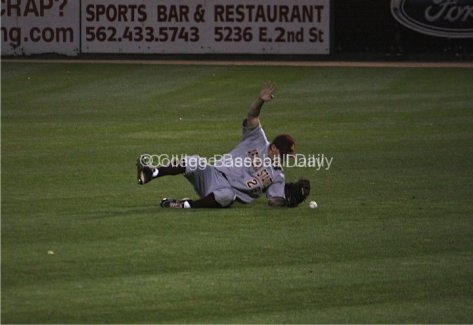 Trever Allen can't make a sliding catch.