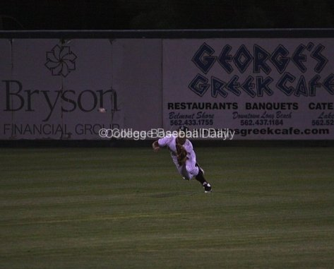 CF Brennan Metzger makes a diving catch.