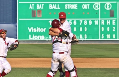 Colton Plaia hoists Matt Florer after his no-hitter.