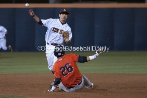 James McDonald turns the double play.