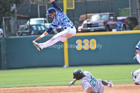 Austin Bailey shows his hops going after an errant throw.