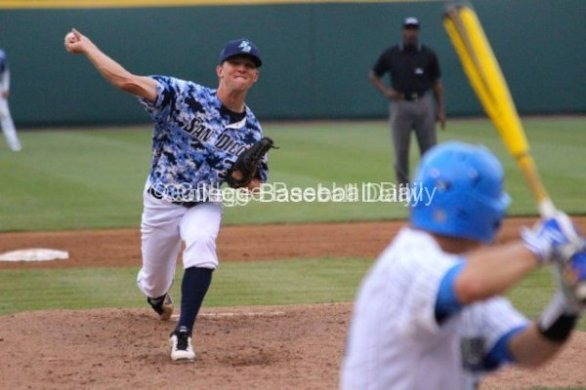 Michael Wagner delivers to a UCLA hitter.