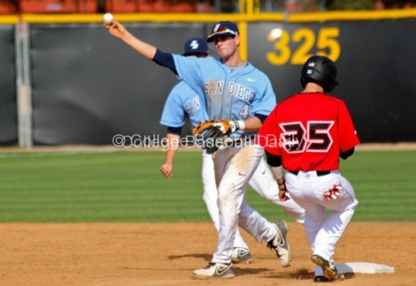 Andrew Daniel completes the double play despite the runner not sliding.