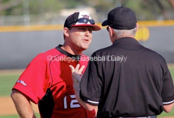 Matt Curtis tells the umpire he has to be kidding.
