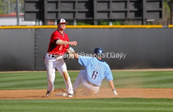 Kyle Attl fakes a throw to first base.