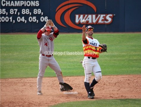 Matt Oberste signals to the dugout after doubling down the left field line