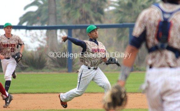 Austin Davidson throws across the diamond.