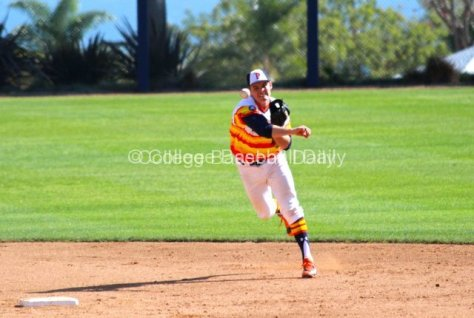 Cody Nulph makes a play behind second base.