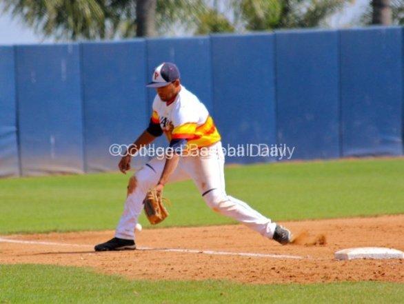 Austin Davidson has a ball go through his legs.