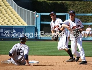 Zach Vincej turns one of four Pepperdine double plays.