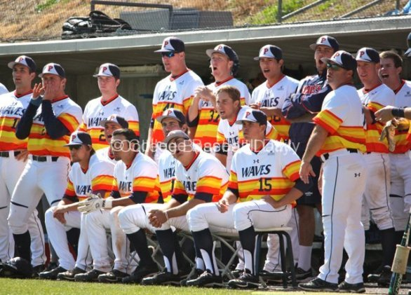The Pepperdine dugout responds to an unfavorable call.