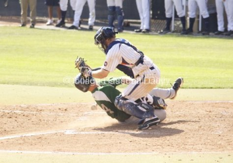 Miles Silverstein delivers a blow, but his tag is late.