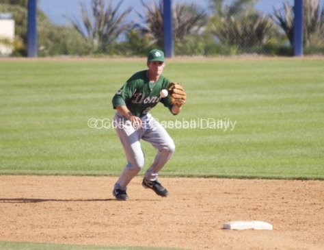 SS Adam Clear makes a play on a ball up the middle.
