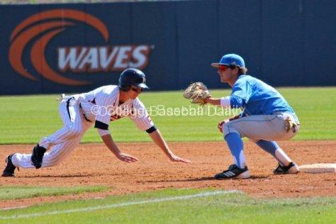 Zach Vincej dives back to first base.