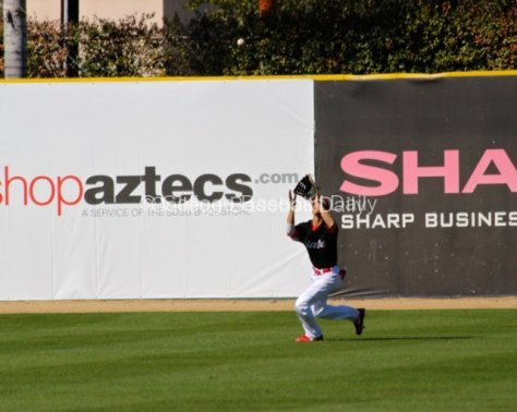 Steven Pallares makes a catch in left field.