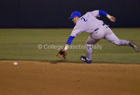 Woody Woodward makes a back-handed play up the middle.