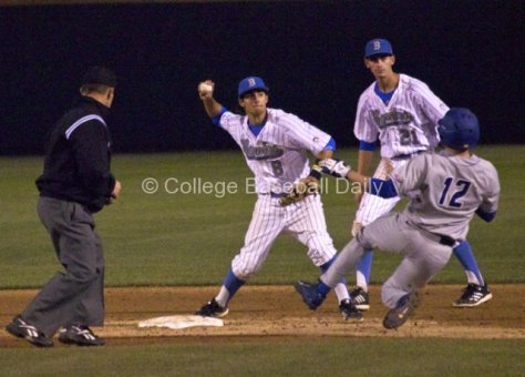 Trent Chatterton turns the double play himself.
