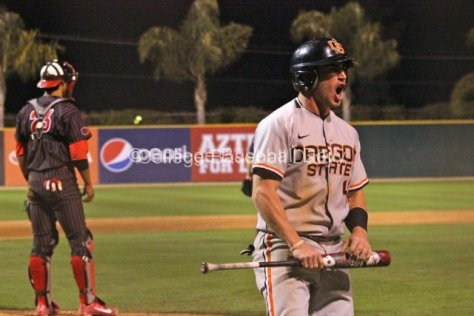 Max Gordon is pumped after Oregon State takes the lead.