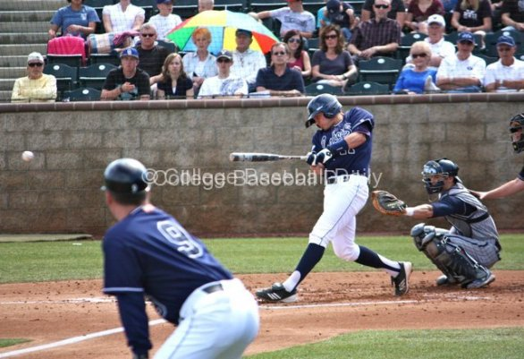 Jerry McClanahan hits a line drive back to the mound.