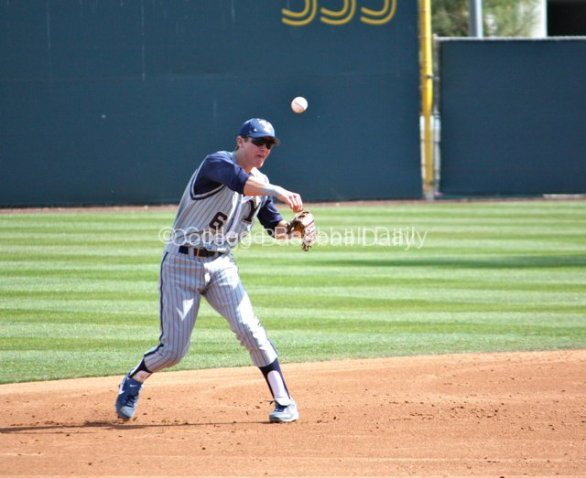 Tanner Chauncey throws to 3B after a bobble.